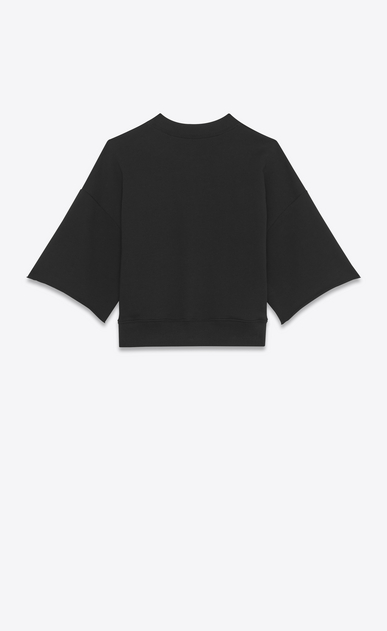 SAINT LAURENT Sportswear Tops Damen Schwarzes Saint Laurent Crop-Sweatshirt mit kurzen Ärmeln b_V4