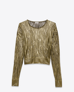 SAINT LAURENT Top Tricot D Maglione girocollo corto color oro con cuciture aperte f