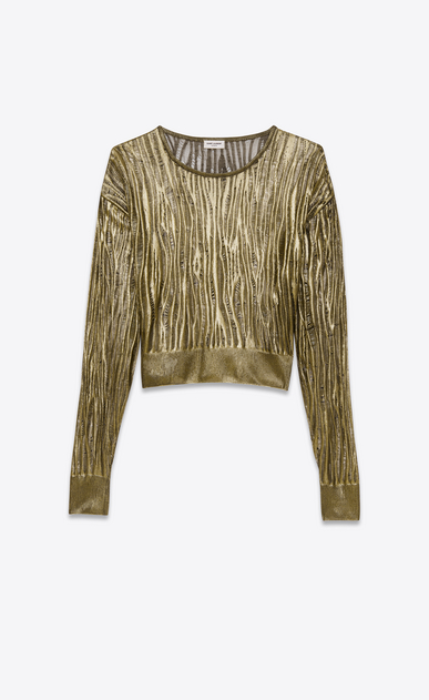 SAINT LAURENT Knitwear Tops D open stitch crewneck cropped sweater in gold viscose a_V4