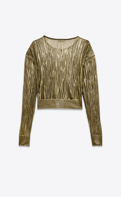 SAINT LAURENT Knitwear Tops D open stitch crewneck cropped sweater in gold viscose b_V4