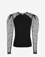SAINT LAURENT Knitwear Tops D lace sleeve sweater in black cashmere f