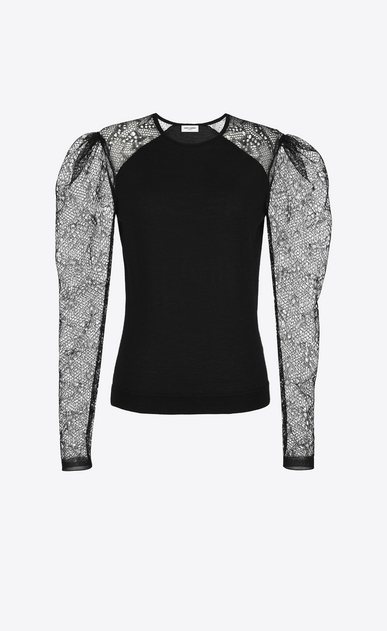 SAINT LAURENT Knitwear Tops D lace sleeve sweater in black cashmere a_V4