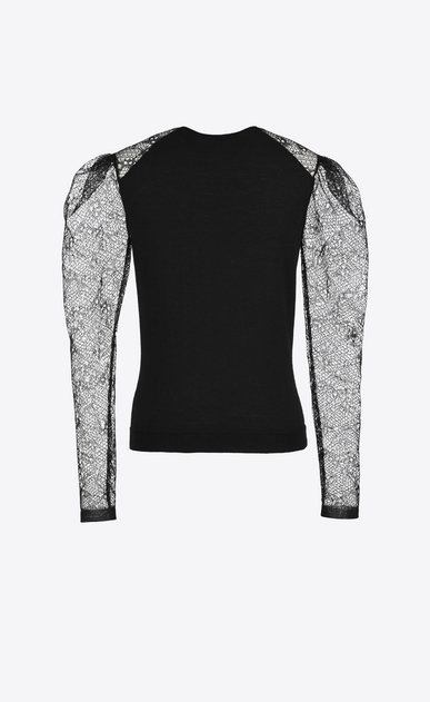 SAINT LAURENT Knitwear Tops D lace sleeve sweater in black cashmere b_V4