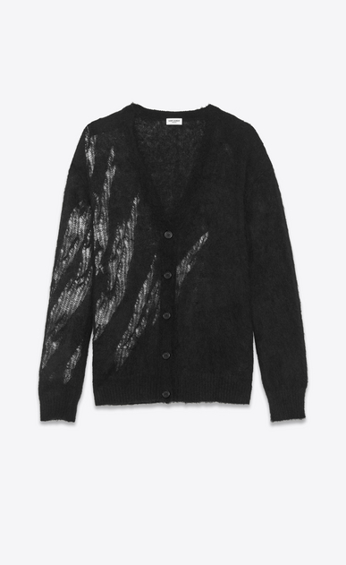 SAINT LAURENT Knitwear Tops D flame cardigan in black mohair a_V4