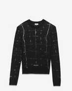 SAINT LAURENT Knitwear Tops U Black déjaugé CREWNECK SWEATER f