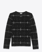 SAINT LAURENT Top Tricot U Maglione windowpane nero e avorio f