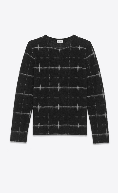 SAINT LAURENT Knitwear Tops U Windowpane Sweater in Black and Ivory jacquard a_V4