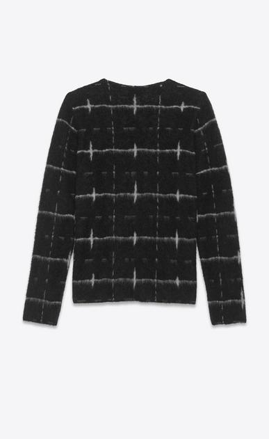 SAINT LAURENT Knitwear Tops U Windowpane Sweater in Black and Ivory jacquard b_V4