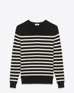 SAINT LAURENT Top Tricot U Maglione sailor nero e avorio a righe f