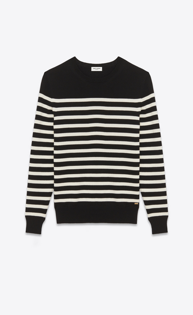 SAINT LAURENT Knitwear Tops Man Striped Sailor Sweater in Black and Ivory wool a_V4