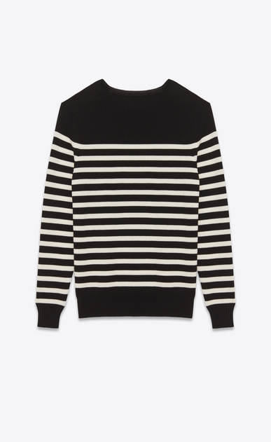 SAINT LAURENT Knitwear Tops U Striped Sailor Sweater in Black and Ivory wool b_V4