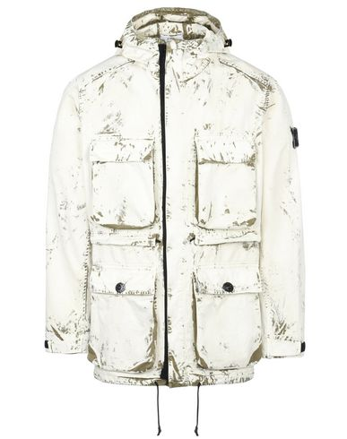 STONE ISLAND Mid-length jacket 45131 HAND CORROSION ON RASO