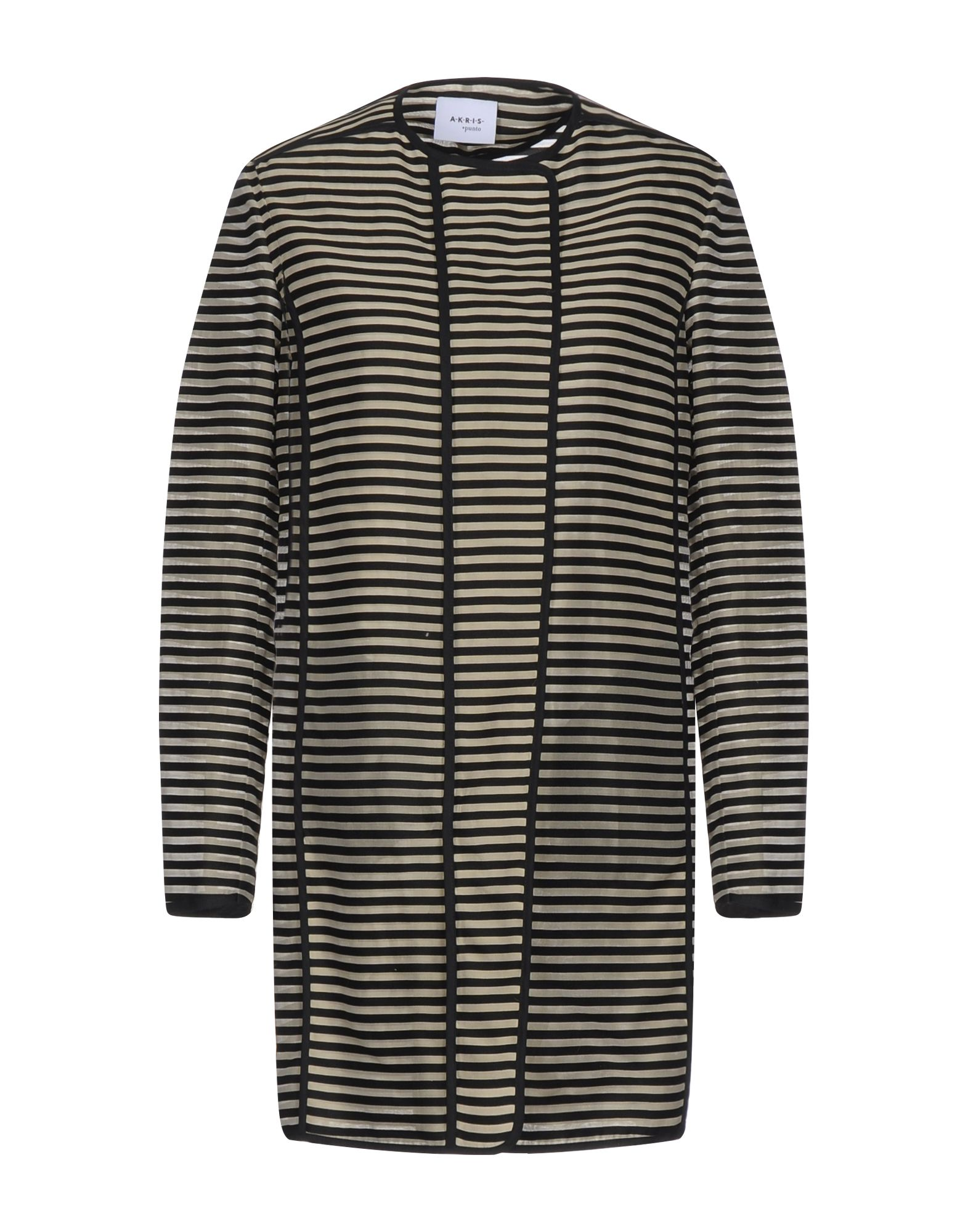 AKRIS PUNTO Overcoats. plain weave, no appliqués, stripes, round collar, single-breasted, frogs, no pockets, long sleeves, unlined, outerwear. 74% Cotton, 26% Silk