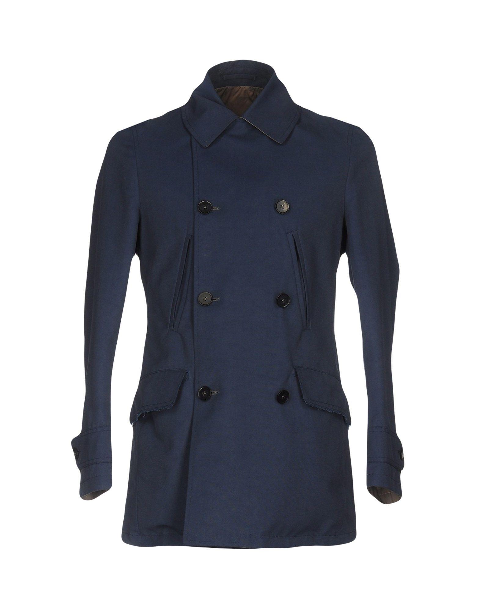 RVR LARDINI Double Breasted Pea Coat in Dark Blue