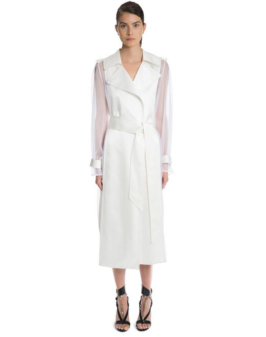 lanvin lacquered twill and organza coat women