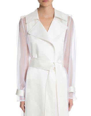 LANVIN LACQUERED TWILL AND ORGANZA COAT Outerwear D a