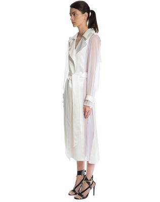 LANVIN LACQUERED TWILL AND ORGANZA COAT Outerwear D d