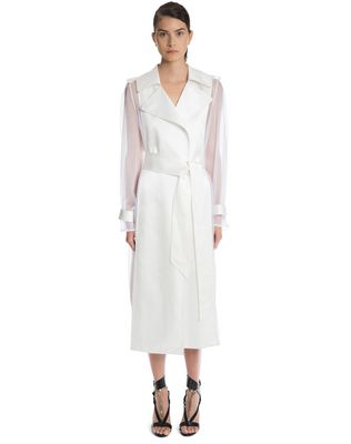 LANVIN LACQUERED TWILL AND ORGANZA COAT Outerwear D f