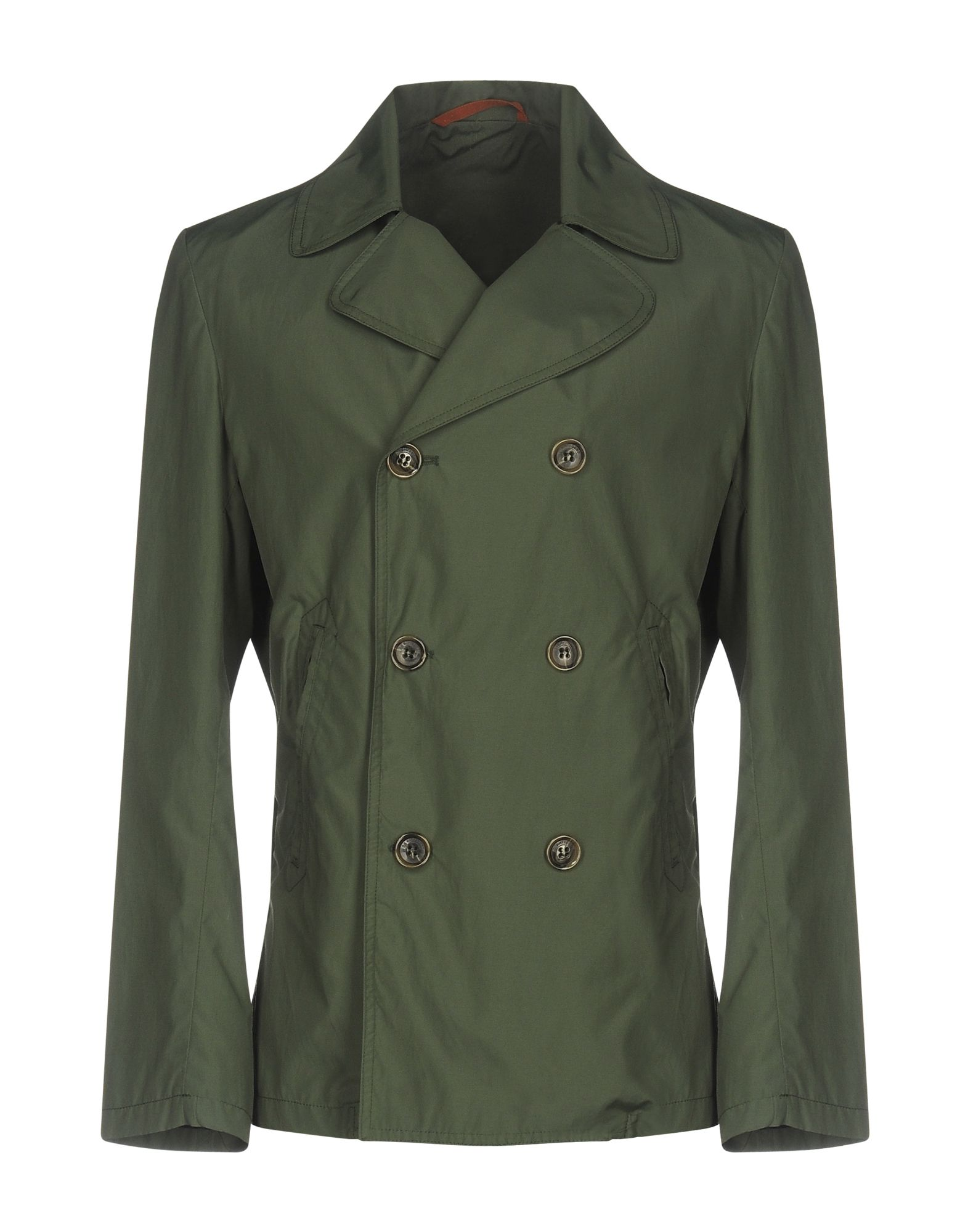 MONTEDORO Double Breasted Pea Coat in Military Green