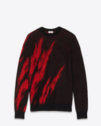 SAINT LAURENT Knitwear Tops U Black and Red Flame Sweater in mohair f