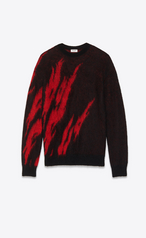 Saint Laurent Black And Red Flame Sweater In Mohair
