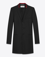 SAINT LAURENT Coats U Black Chesterfield Coat in wool gabardine f
