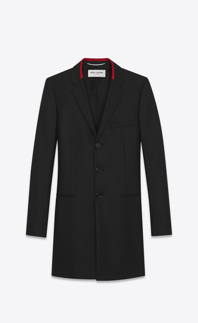 SAINT LAURENT Coats U Black Chesterfield Coat in wool gabardine a_V4