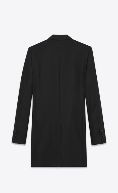 SAINT LAURENT Coats U Black Chesterfield Coat in wool gabardine b_V4