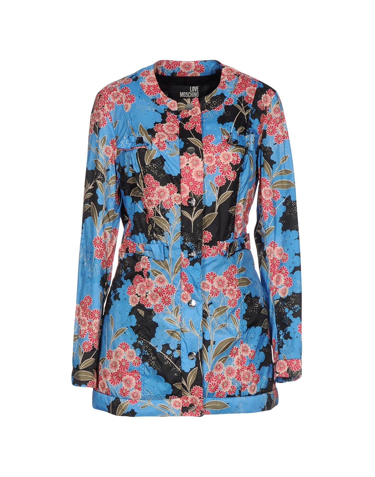 LOVE MOSCHINO Damen Lange Jacke Farbe Azurblau Größe 4 - broschei