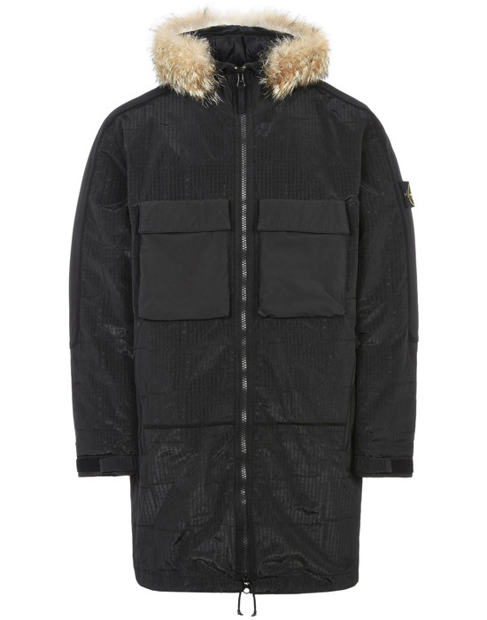 STONE ISLAND LONG JACKET 710J4 SI HOUSE CHECK JACQUARD ON NYLON METAL BLACK WATRO - WITH PRIMALOFT® INSULATION TECHNOLOGY