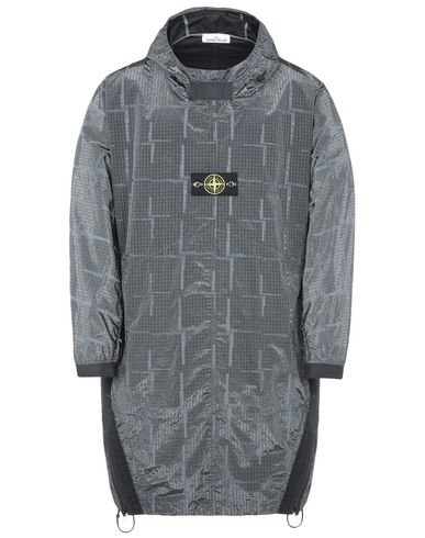 STONE ISLAND LANGE JACKE  709J4 SI HOUSE CHECK JACQUARD ON NYLON METAL BLACK WATRO