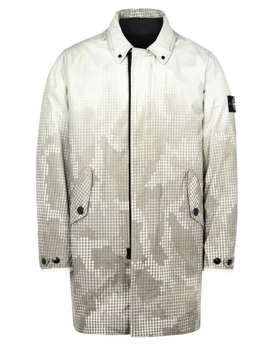 STONE ISLAND LONG JACKET 711E4 ICE JACKET SI CHECK GRID CAMO<br>INSIDE, REVERSIBLE BOMBER IN NYLON/PILE/PRIMALOFT®