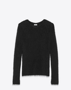 SAINT LAURENT Knitwear Tops D Loose Stitch Crewneck Sweater in Black Mohair f