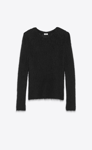 SAINT LAURENT Knitwear Tops D Loose Stitch Crewneck Sweater in Black Mohair a_V4