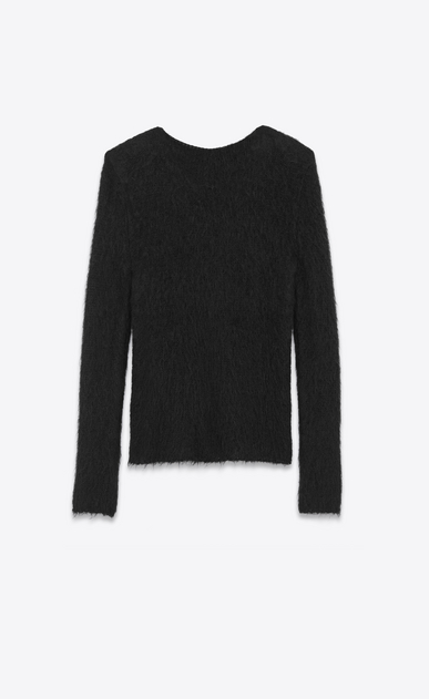 SAINT LAURENT Knitwear Tops Woman Loose Stitch Crewneck Sweater in Black Mohair b_V4