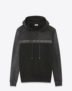 "SAINT LAURENT Knitwear Tops D ""LOVE ME FOREVER OR NEVER"" Boyfriend Hoodie in Dark Grey French Terrycloth f"