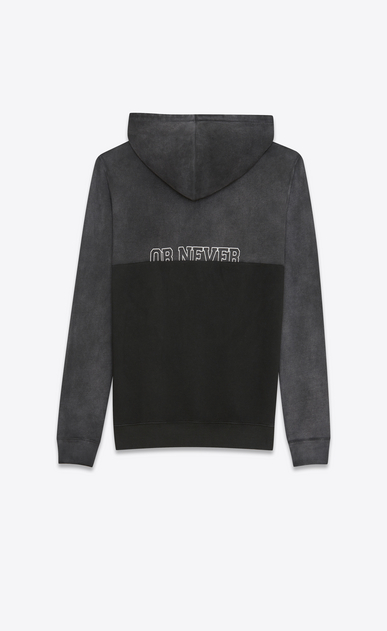 "SAINT LAURENT Sportswear Tops Woman ""LOVE ME FOREVER OR NEVER"" Boyfriend Hoodie in Dark Grey French Terrycloth b_V4"