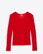 SAINT LAURENT Knitwear Tops D Loose Stitch V-Neck Sweater in Red Mohair f