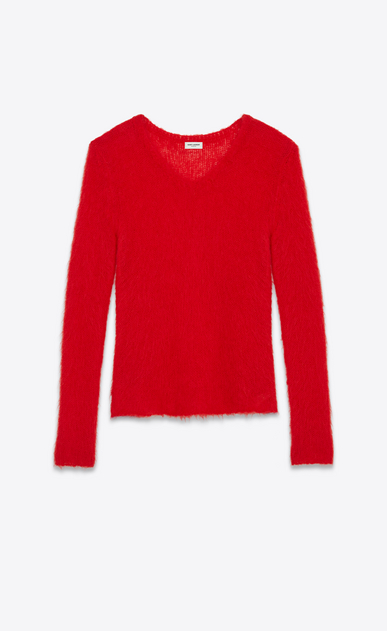SAINT LAURENT Top Tricot D Felpa Loose Stitch con collo a V rossa in mohair a_V4