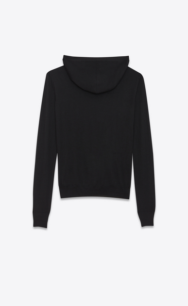 SAINT LAURENT Knitwear Tops D UNIVERSITÉ Hoodie in Black and Ivory Cashmere Jacquard b_V4