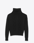 SAINT LAURENT Knitwear Tops D Turtleneck Sweater in Black Wool Aran Knit f