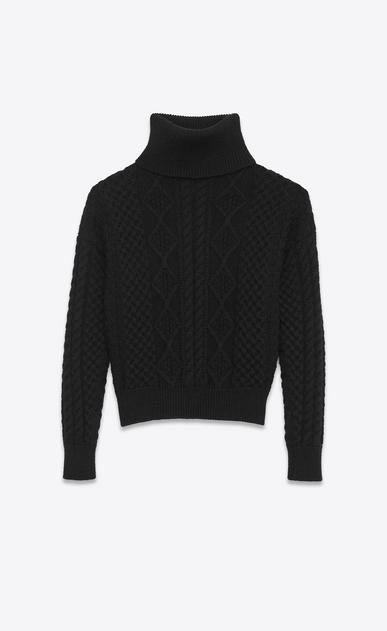 SAINT LAURENT Tops Maille D Pull à col roulé en laine noire à maille d'Aran a_V4
