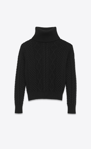 SAINT LAURENT Knitwear Tops D Turtleneck Sweater in Black Wool Aran Knit v4
