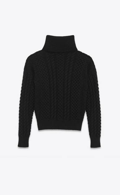 SAINT LAURENT Tops Maille D Pull à col roulé en laine noire à maille d'Aran b_V4