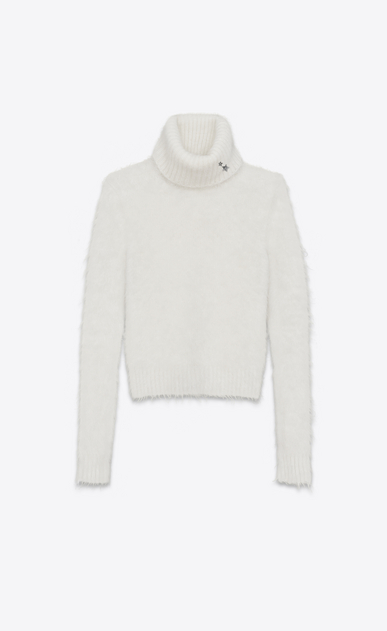 SAINT LAURENT Top Tricot D Felpa a lupetto avorio in mohair a_V4