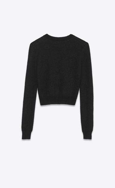 SAINT LAURENT Knitwear Tops Woman Lips Sweater in Black and Red Mohair Jacquard b_V4