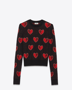 SAINT LAURENT Knitwear Tops D Heart and Lightening Bolt Sweater in Black, Red and Silver Mohair Jacquard f