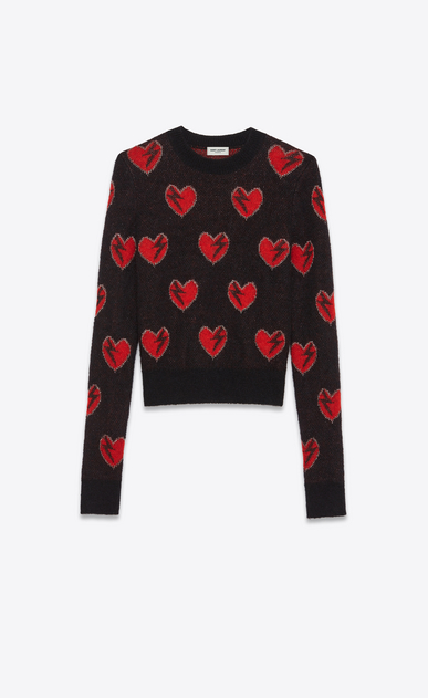 SAINT LAURENT Knitwear Tops Woman Heart and Lightening Bolt Sweater in Black, Red and Silver Mohair Jacquard a_V4