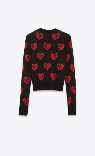 SAINT LAURENT Knitwear Tops Woman Heart and Lightening Bolt Sweater in Black, Red and Silver Mohair Jacquard b_V4