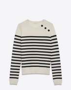 SAINT LAURENT Knitwear Tops D MARINIÉRE Sweater in Ivory and Black Striped Wool f